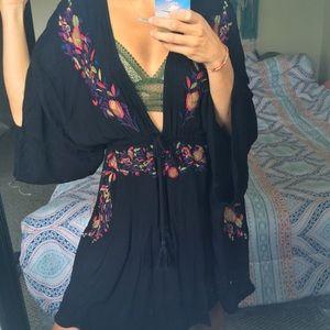 Embroidered boho beach dress